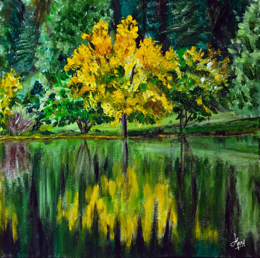 """Autumn yellow"" original fine art by Hema Sukumar"