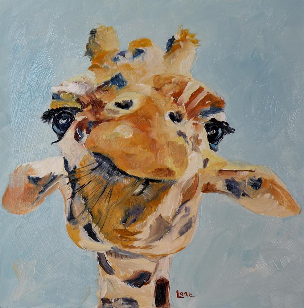 """CANDICE - A GIRAFFE ORIGINAL OIL MINI ON PANEL © SAUNDRA LANE GALLOWAY"" original fine art by Saundra Lane Galloway"