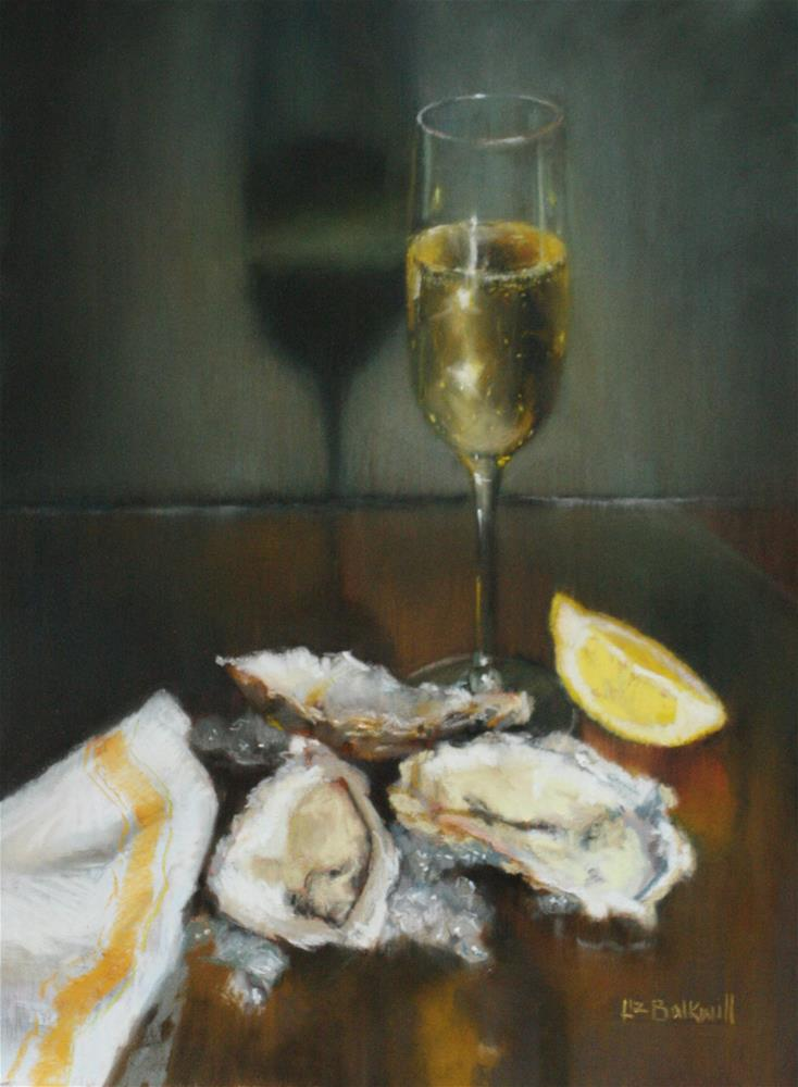 """Oysters and Champagne"" original fine art by Liz Balkwill"