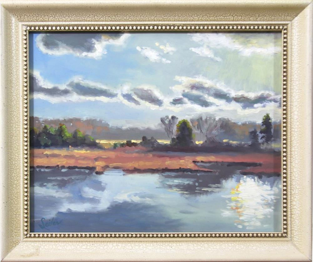 """Early Fall Mill Pond"" original fine art by Larry Seiler"