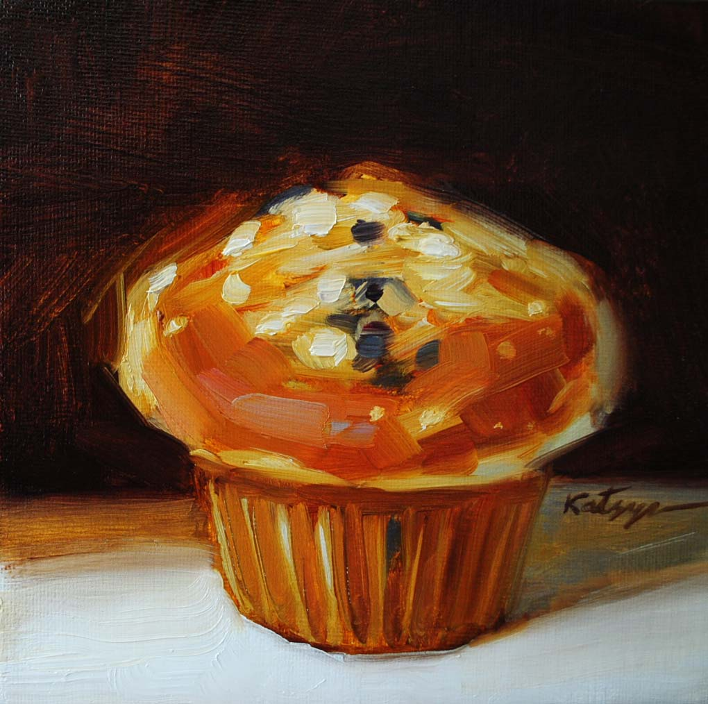 """Blueberry Muffin (Brown Background)"" original fine art by Elena Katsyura"