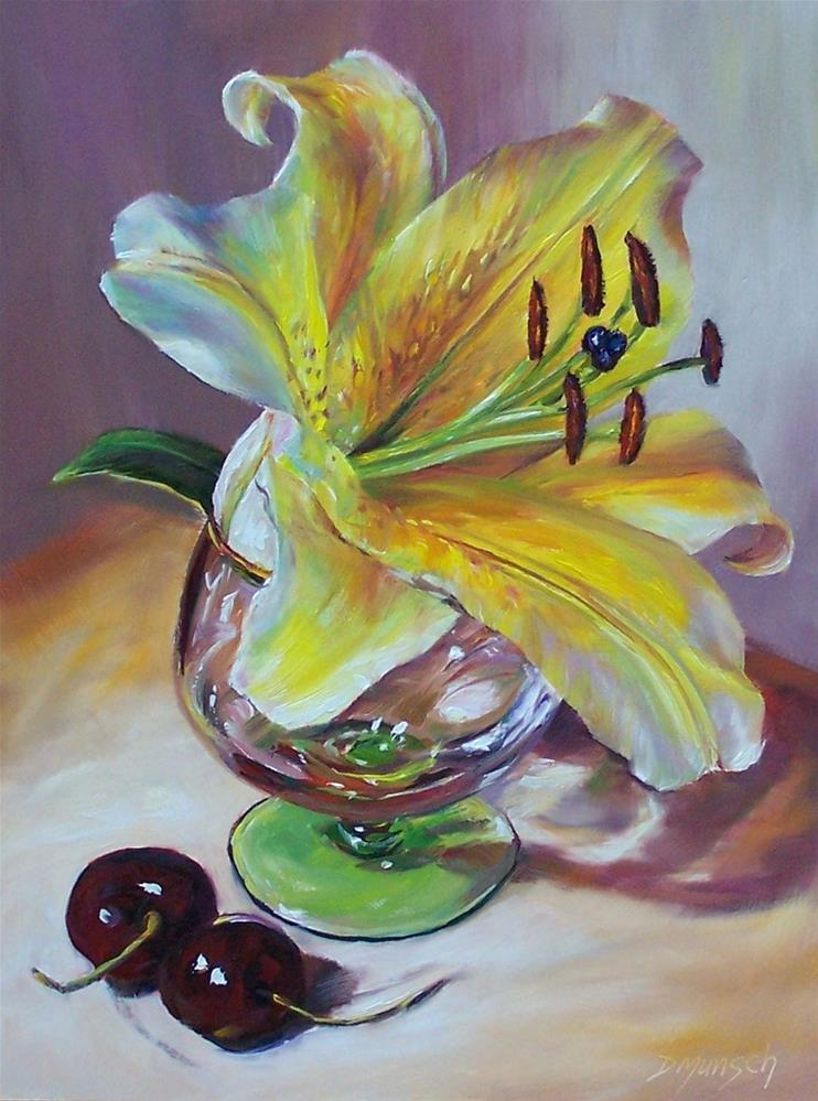 """Oriental Lily in Snifter Glass"" original fine art by Donna Munsch"