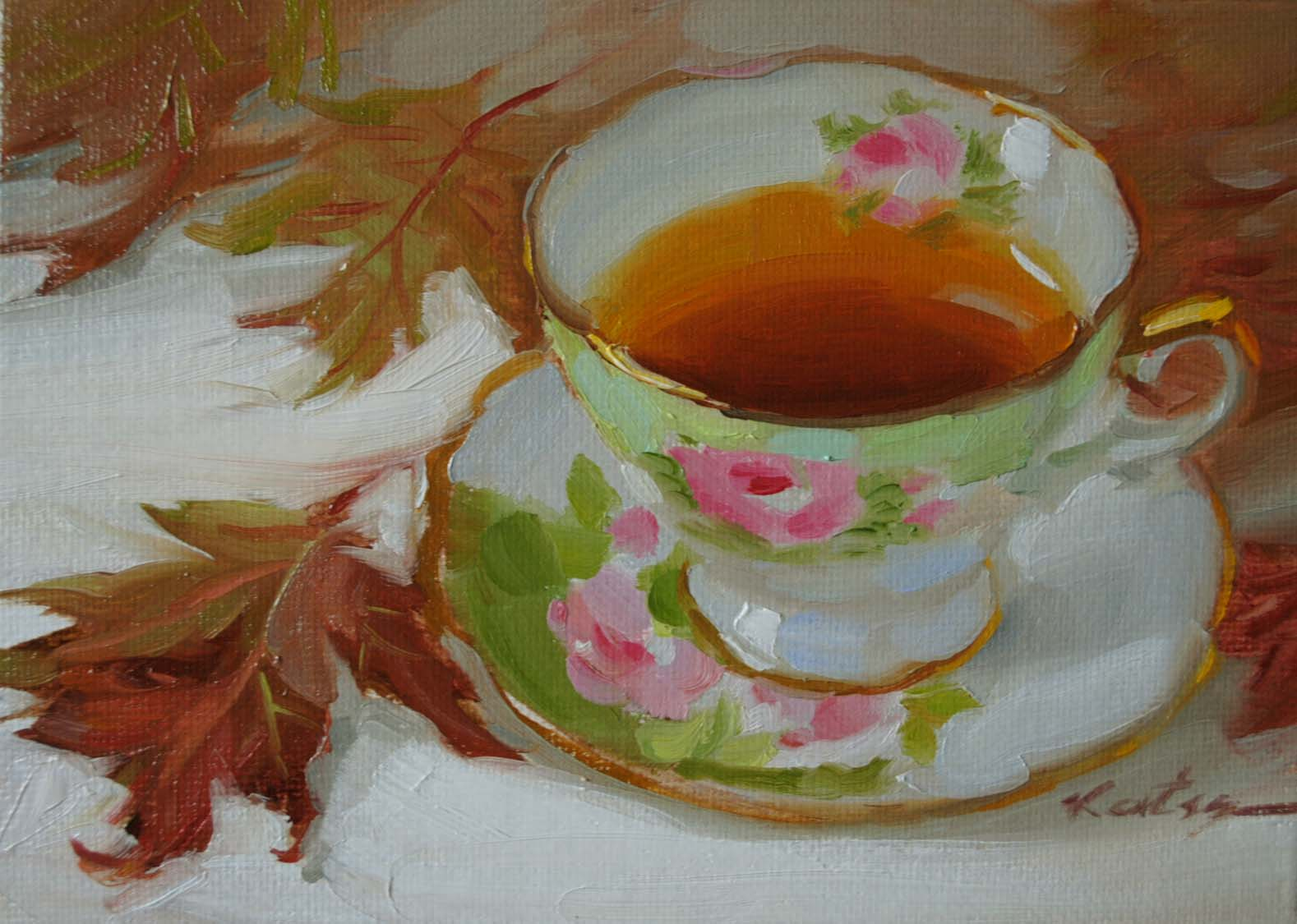 """Autumn Tea"" original fine art by Elena Katsyura"