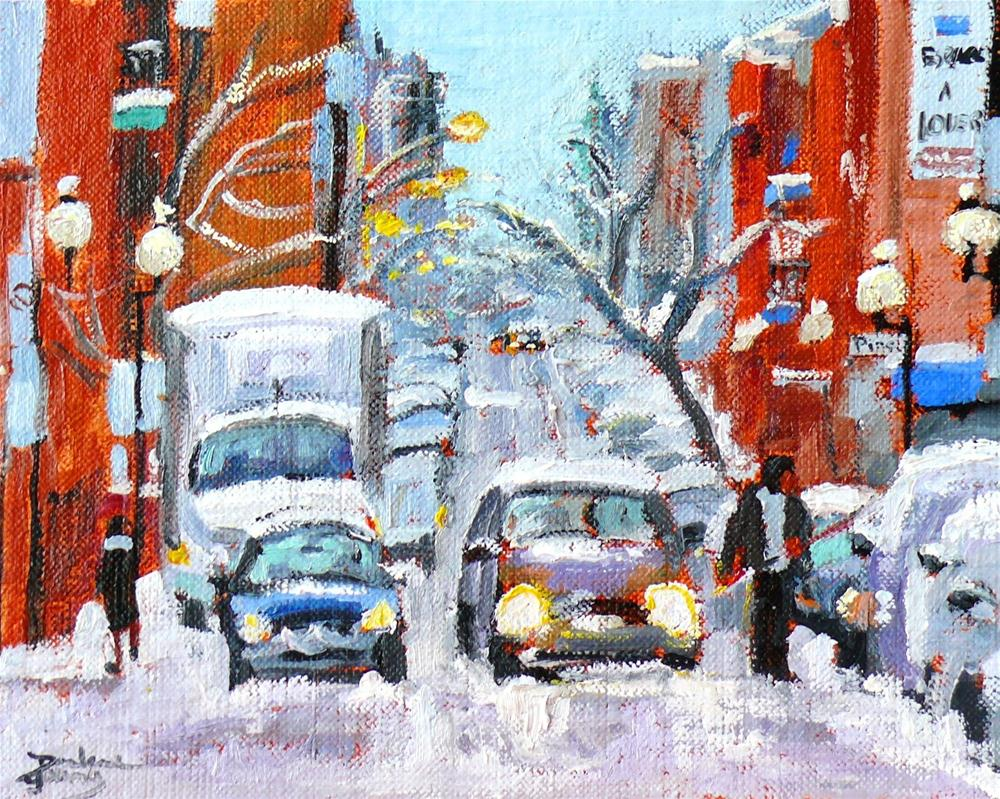 """592 Montreal Ave des Pins Snow Scene"" original fine art by Darlene Young"