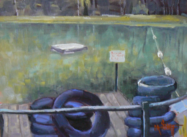"""SWIM AT YOUR OWN RISK, 6X8, OIL"" original fine art by Carol Schiff"