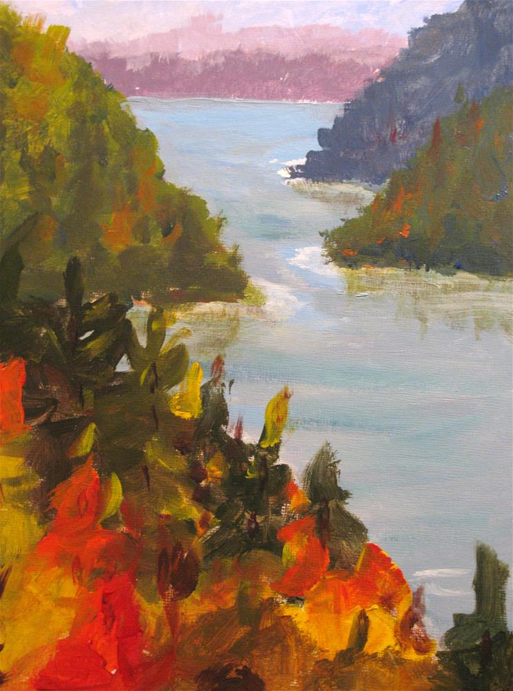 """Autumn Lake"" original fine art by Susan Elizabeth Jones"
