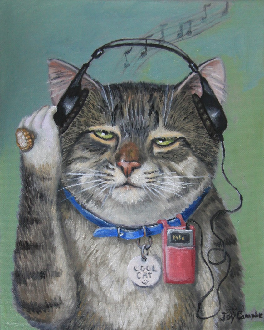 """A Cool Cat"" original fine art by Joy Campbell"