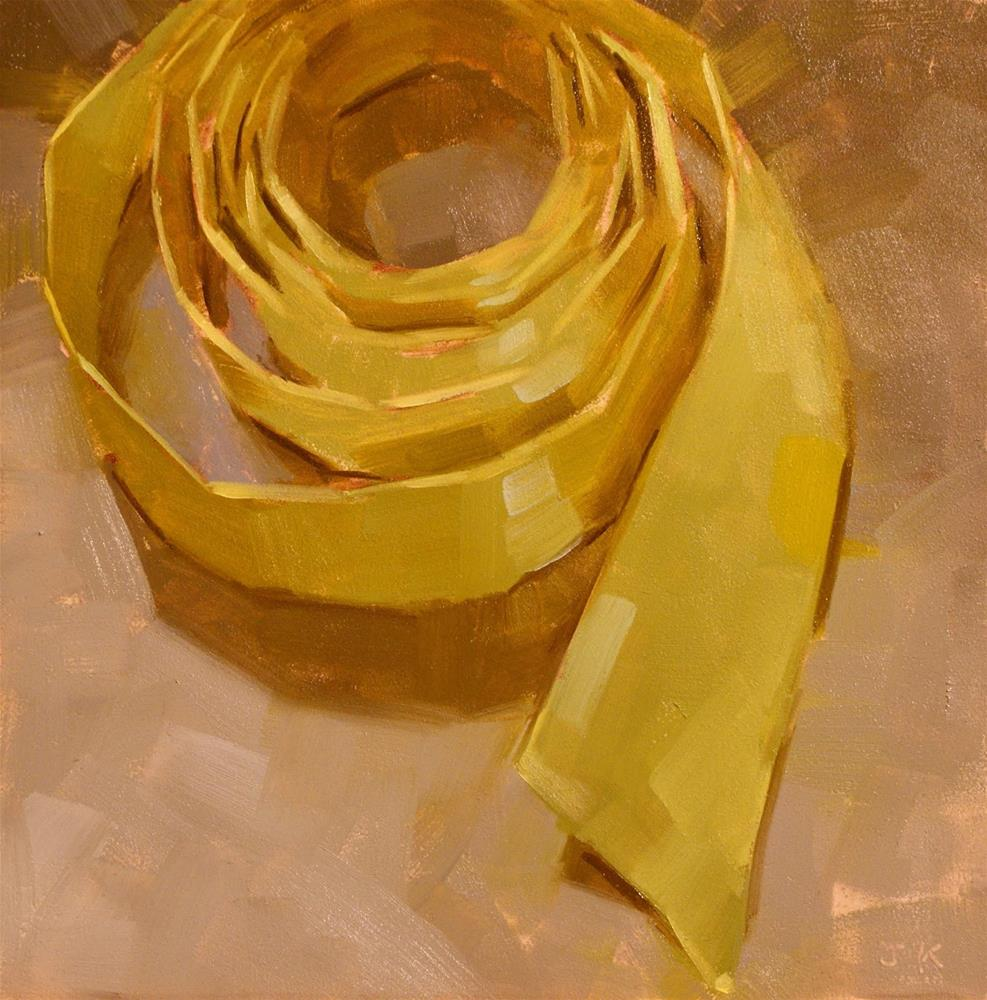 """Ribbon Study - 'Green Circle'"" original fine art by Jiyoung Kim"