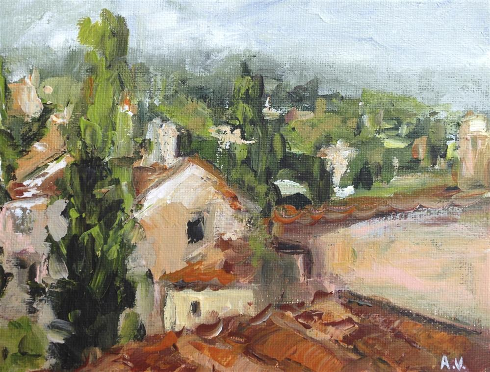 """Rooftops in Roussillon"" original fine art by Alina Vidulescu"