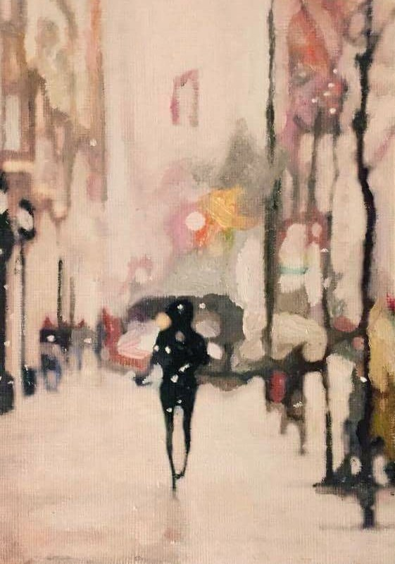 """Winter Walk"" original fine art by John Cameron"