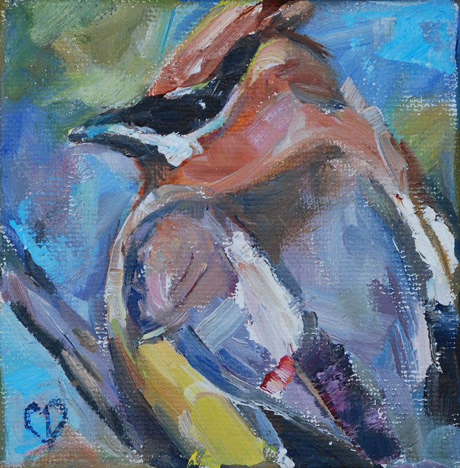 """Cedar Waxwing"" original fine art by Carol DeMumbrum"