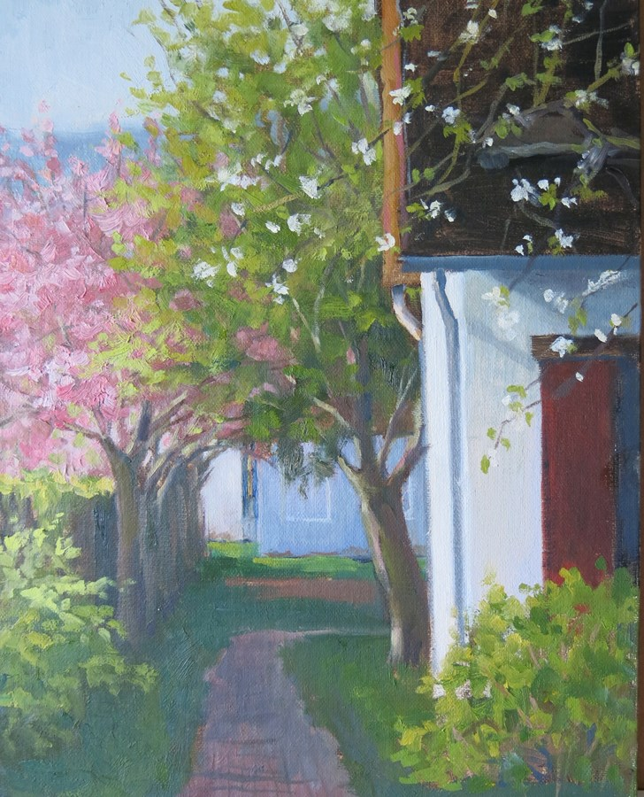 """""""'Spring Blossoms in Giverny' An Original Oil Painting by Claire Beadon Carnell"""" original fine art by Claire Beadon Carnell"""