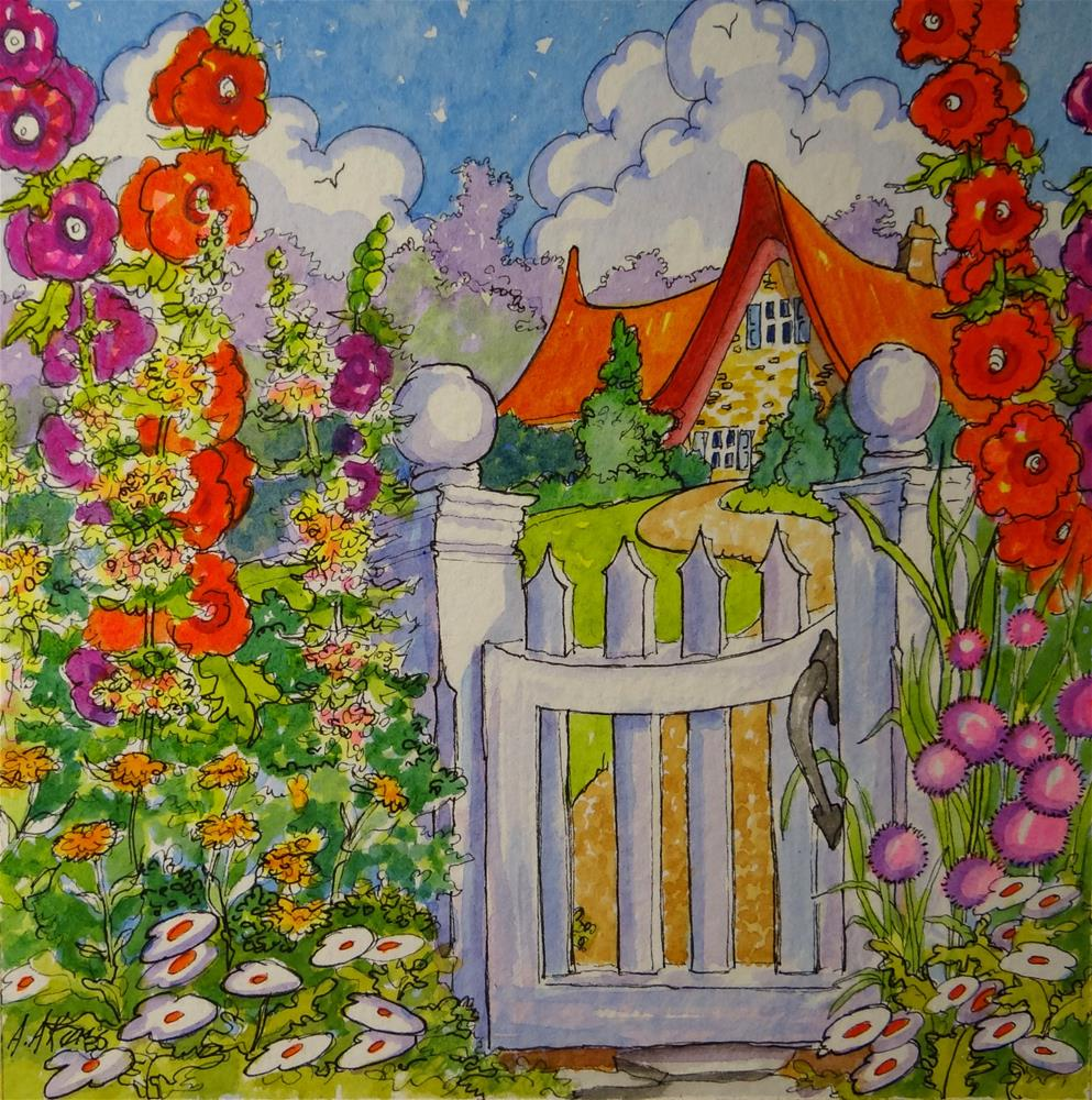 """The Cottage Gate Storybook Cottage Series"" original fine art by Alida Akers"