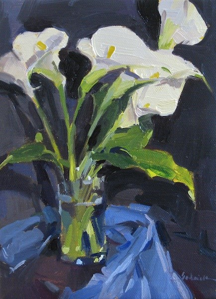 """Calla Lilies on Black"" original fine art by Sarah Sedwick"