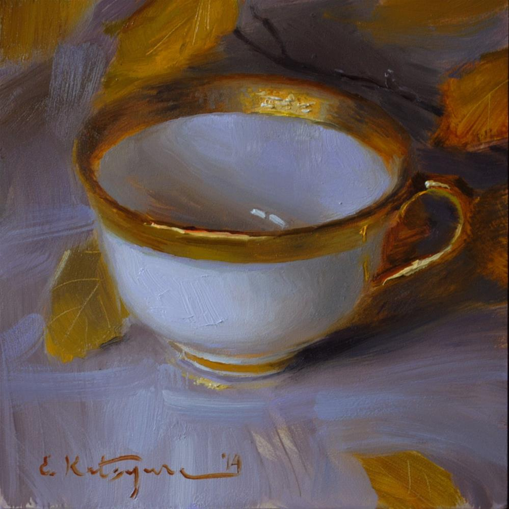 """White and Gold"" original fine art by Elena Katsyura"