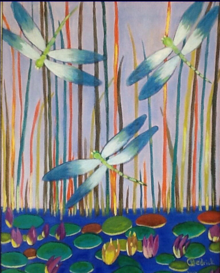 """PSYCHEDELIC DRAGONFLIES"" original fine art by Charlotte Bankhead Hedrick"