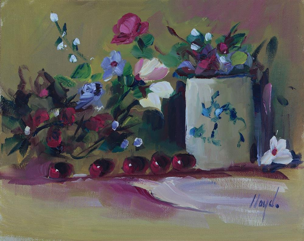 """Five Grapes and a Porcelain Cup"" original fine art by Diane Lloyd"
