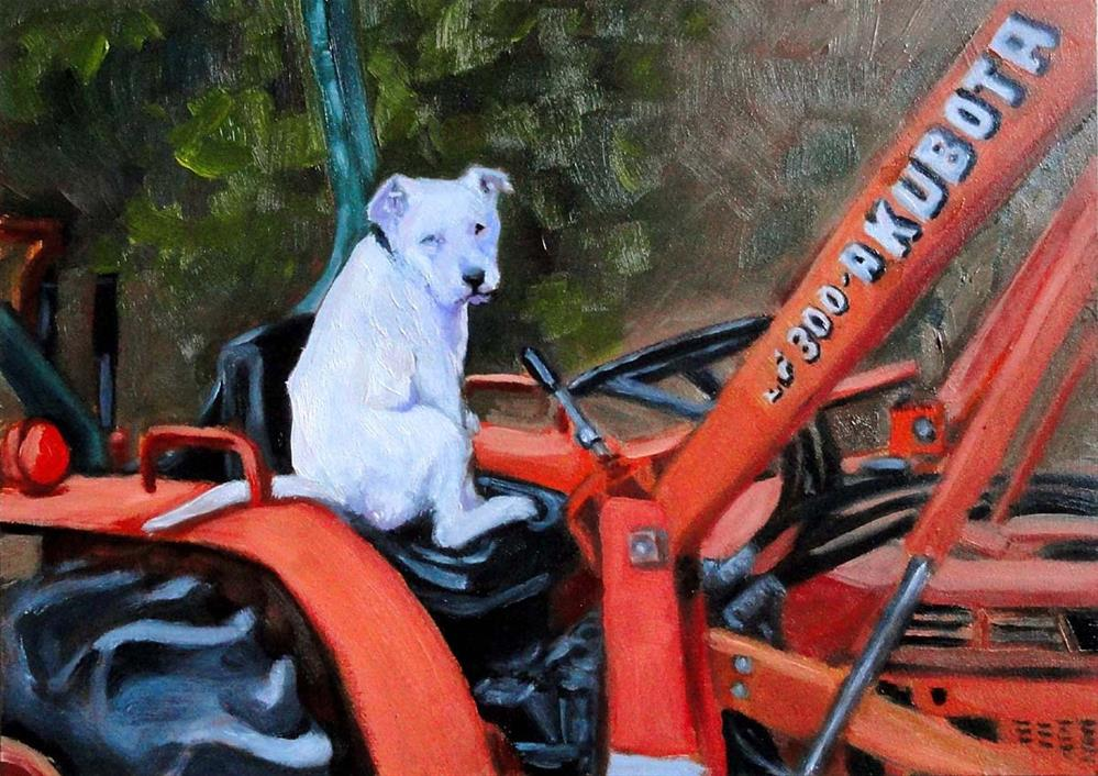 """Pancho On The Tractor"" original fine art by Cietha Wilson"