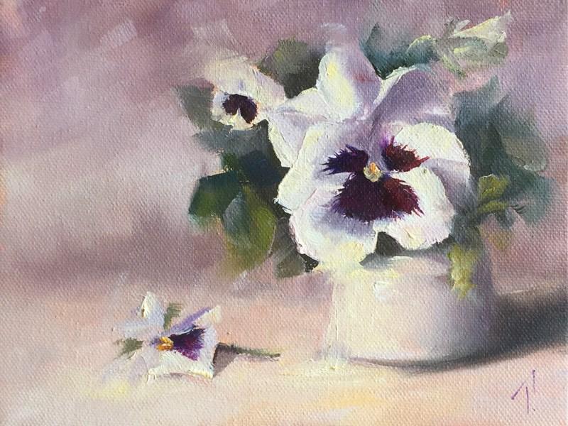 """""""Study of Pansies in High Key"""" original fine art by Lori Twiggs"""