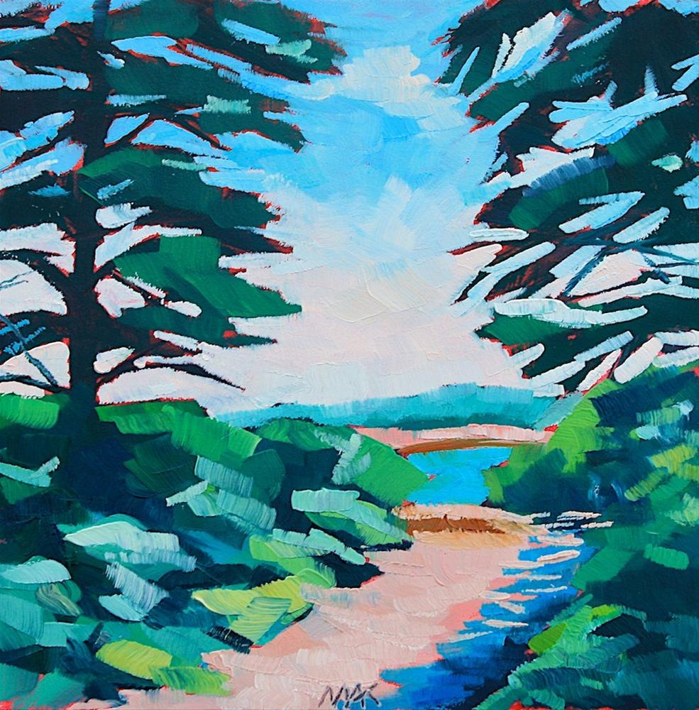 """Pines and Ocean"" original fine art by Mary Anne Cary"