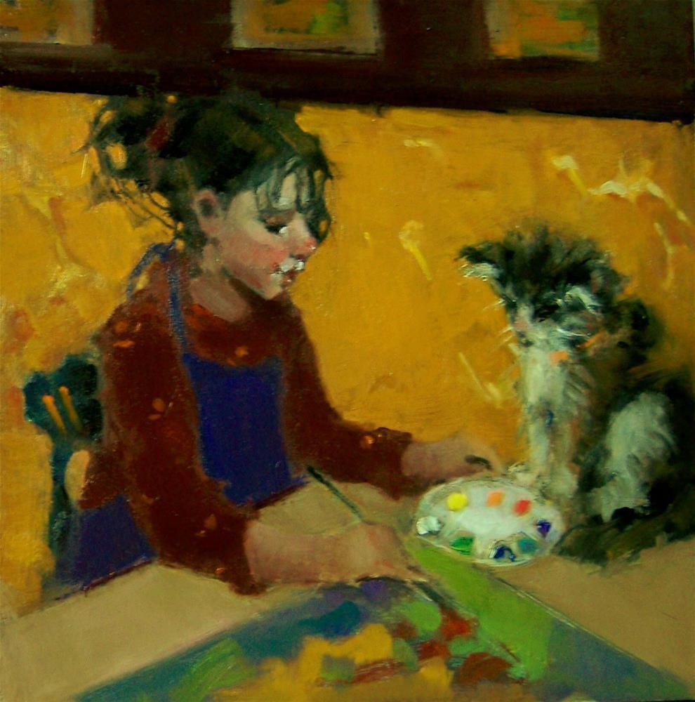 """""""Art Lesson"""" original fine art by Kim Roberti"""