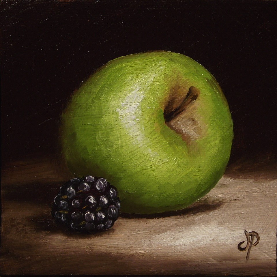 """Little Green Apple with Blackberry"" original fine art by Jane Palmer"