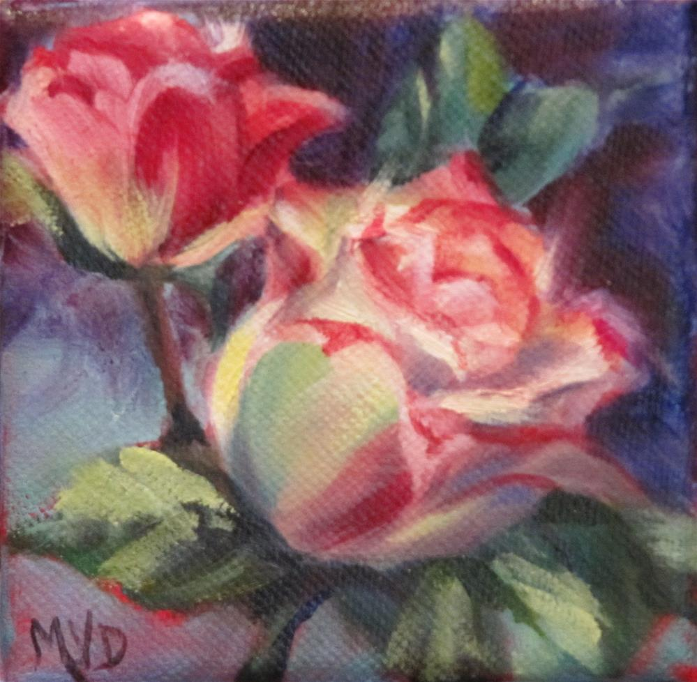 """Pink Roses"" original fine art by Mary Van Deman"