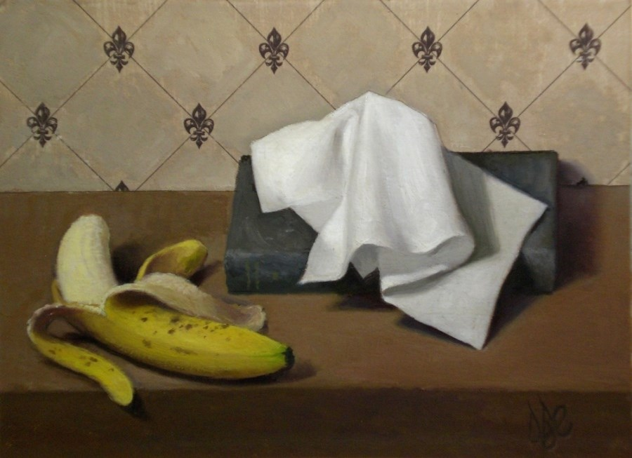 """Banana, Book and Tissue"" original fine art by Debra Becks Cooper"