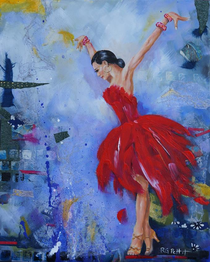"""Latin Dancer in Red"" original fine art by Rhea  Groepper Pettit"