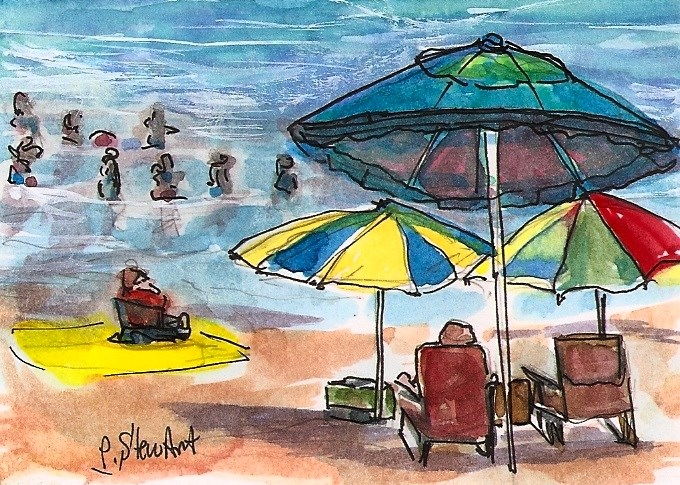 """""""ACEO Day at the Beach Umbrellas Swimming Ocean Seascape Penny StewArt"""" original fine art by Penny Lee StewArt"""