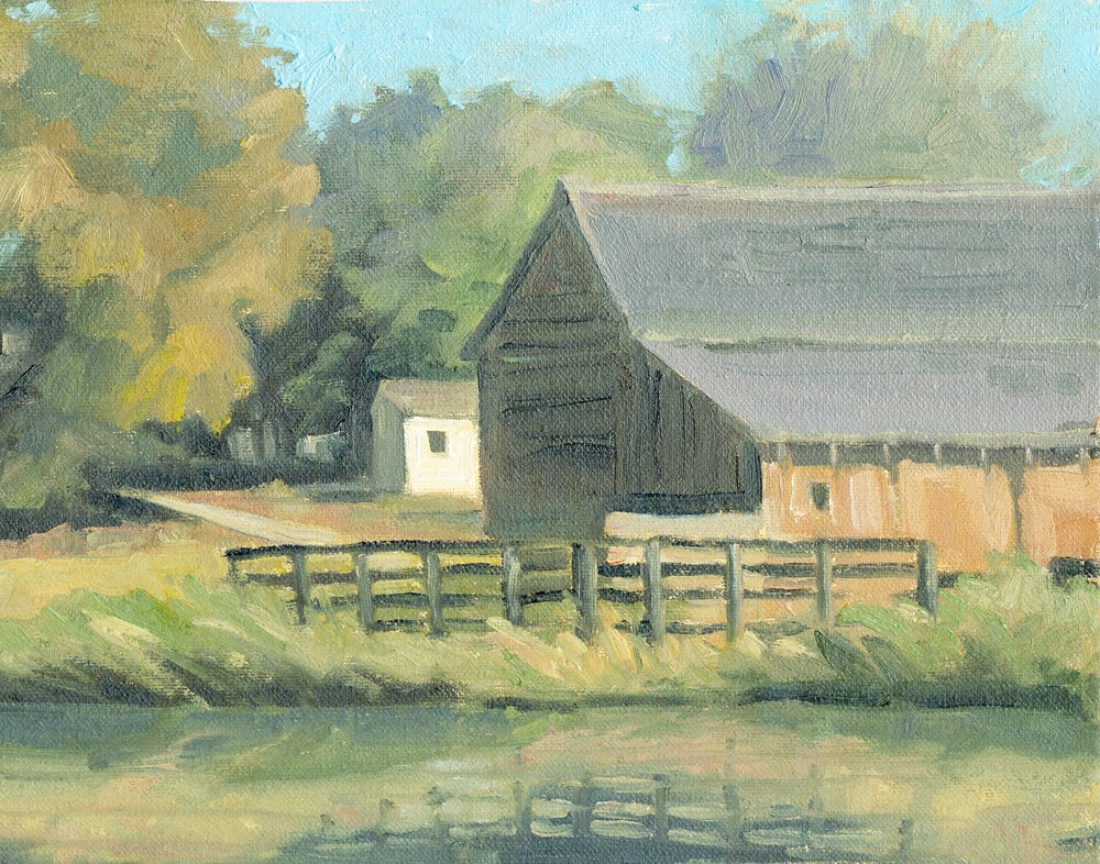 """""""White Shed"""" original fine art by Kath Reilly"""