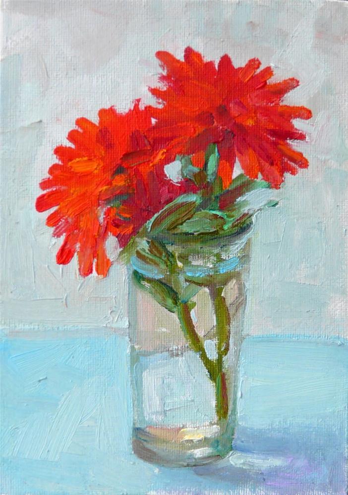 """Red Dalias,still life,oil on canvas,7x5,price$180"" original fine art by Joy Olney"