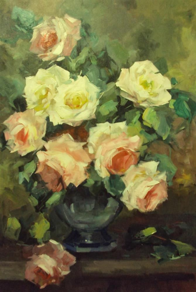 """old fashioned roses"" original fine art by Parastoo Ganjei"