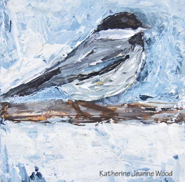 """Blue Chickadee Bird Painting"" original fine art by Katie Jeanne Wood"