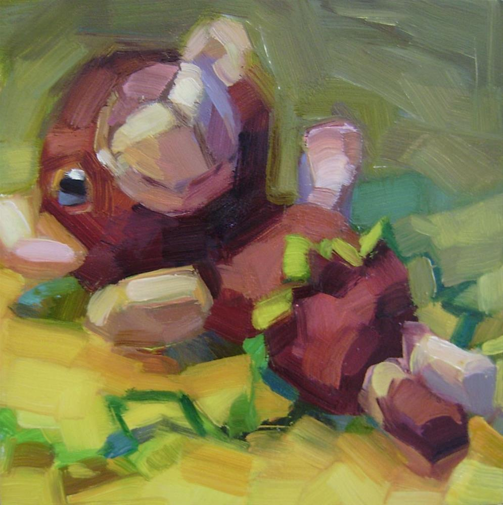 """Teddy Bear with Ric Rac"" original fine art by Holly Storlie"