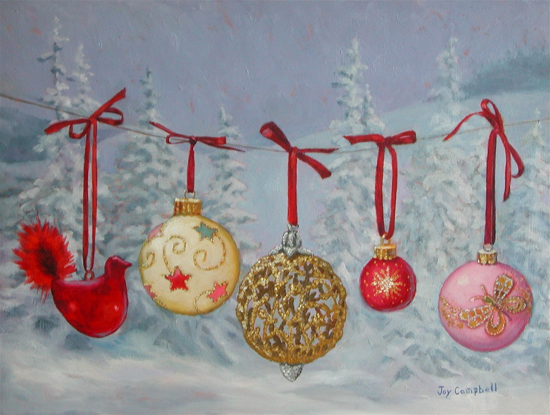"""Christmas Ornaments"" original fine art by Joy Campbell"