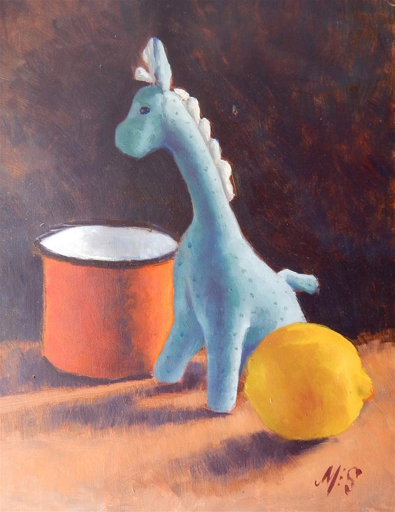"""Blue Giraffe Still Life"" original fine art by Megan Schembre"