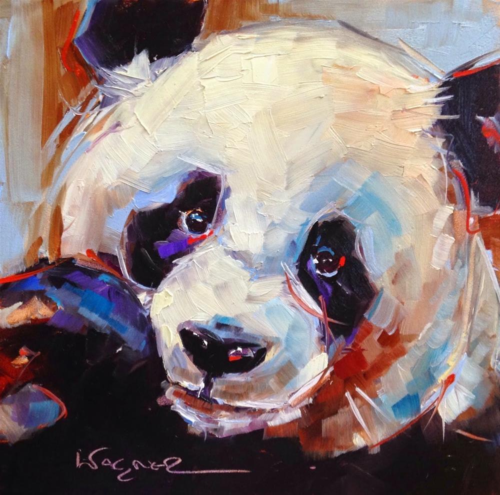 """""""ORIGINAL CONTEMPORARY PANDA BEAR PAINTING by OLGA WAGNER"""" original fine art by Olga Wagner"""