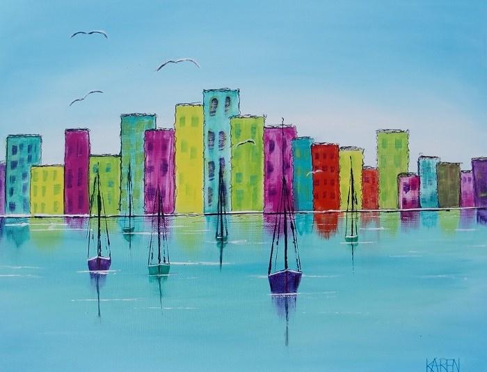 """city of colors"" original fine art by karen richardson"