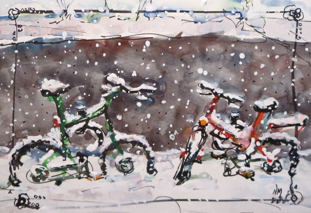 """snow pedals"" original fine art by Nora MacPhail"