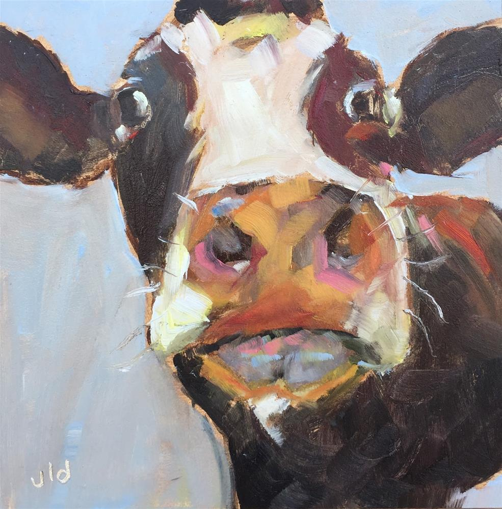 """Cow 65 I'm all ears"" original fine art by Jean Delaney"