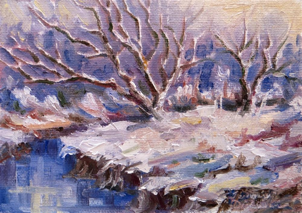 """Snow at Water's Edge"" original fine art by Tammie Dickerson"