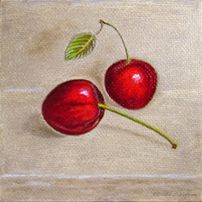 """Cherries 2"" original fine art by Mary Sylvia Hines"