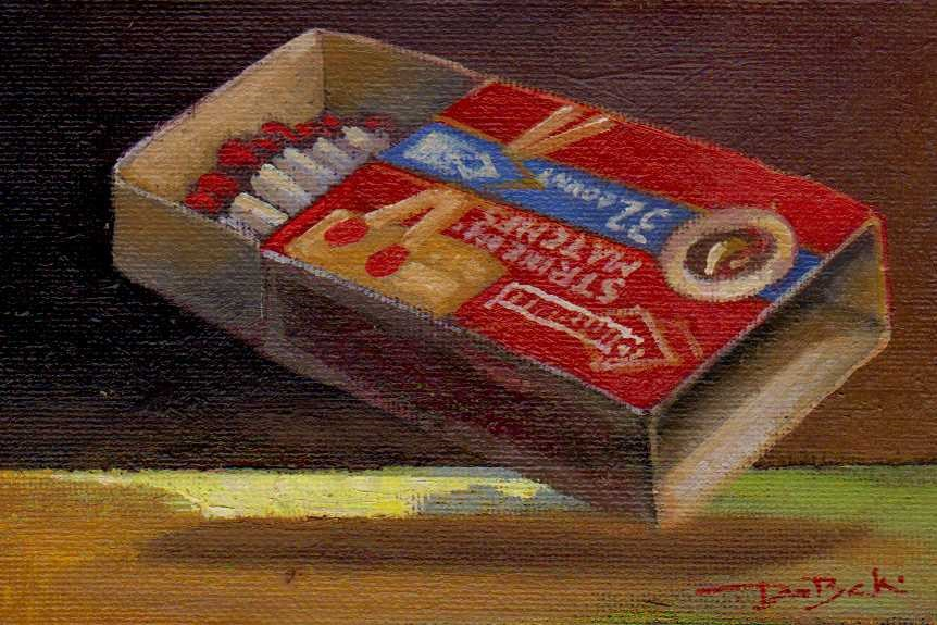 """box of matches"" original fine art by Leo DeBak"