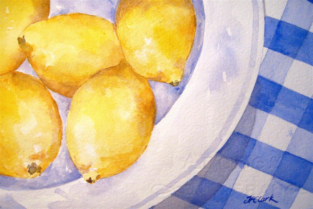 """""""A Plate of Lemons"""" original fine art by Judith Freeman Clark"""