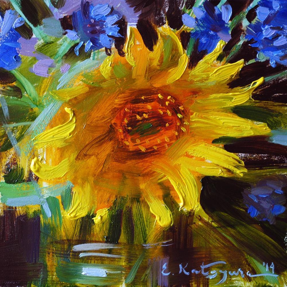 """""""Sunflower and Cornflower"""" original fine art by Elena Katsyura"""