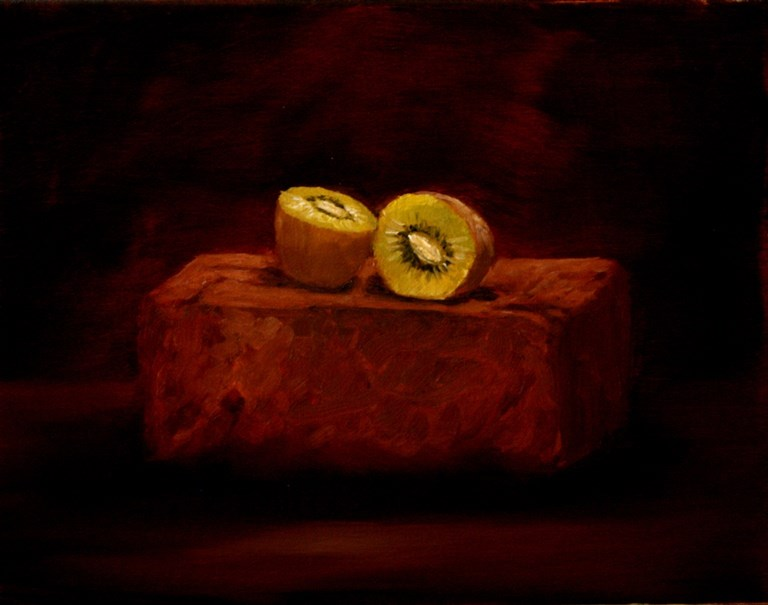 """Kiwi on Brick"" original fine art by Mary Datum"