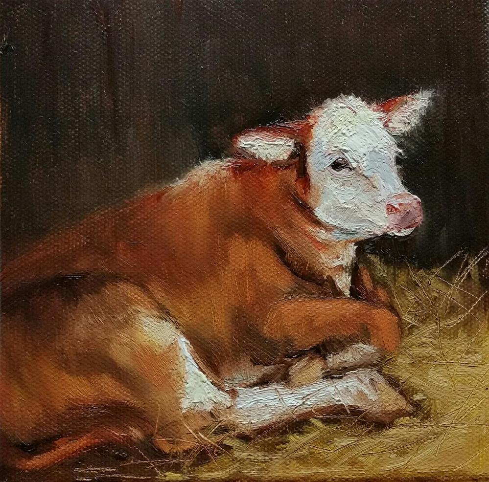 """New Baby in the Barn"" original fine art by Veronica Brown"