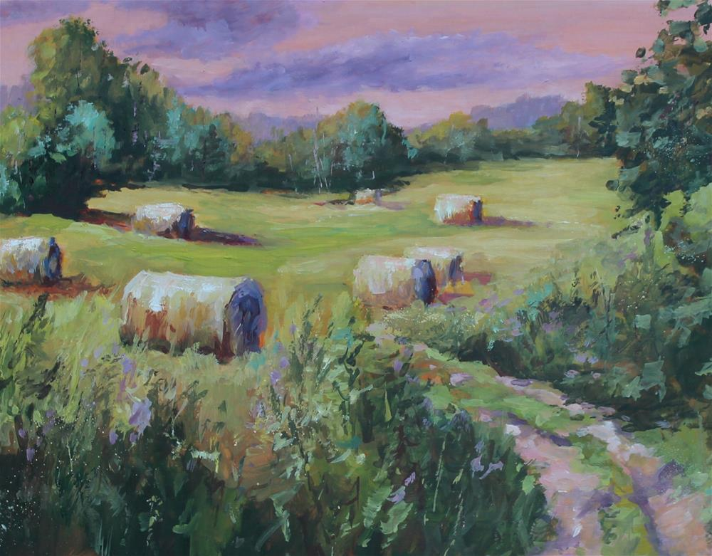 """Original oil hay bale landscape painting"" original fine art by Alice Harpel"