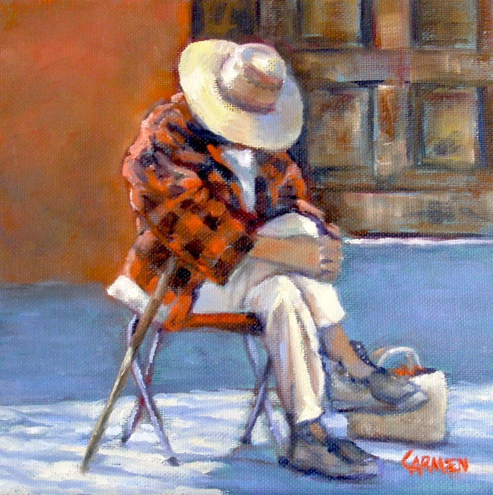 """Siesta, 8x8 Oil on Canvas"" original fine art by Carmen Beecher"